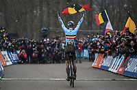 defending World Champion Wout Van Aert (BEL/Crelan-Charles) makes it 3 World Champion titles in a row<br /> <br /> Men Elite Race<br /> UCI CX Worlds 2018<br /> Valkenburg - The Netherlands