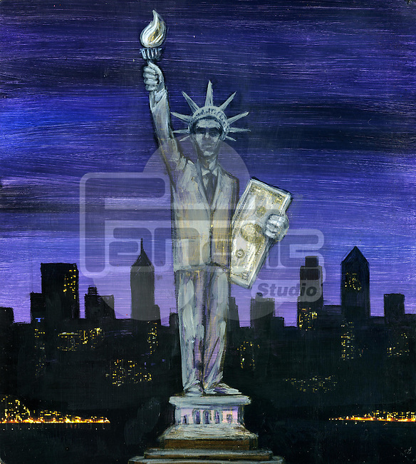 Human representation holding US paper currency with city in background depicting the concept of financial district