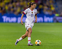 LE HAVRE,  - JUNE 20: Tobin Heath #17 dribbles during a game between Sweden and USWNT at Stade Oceane on June 20, 2019 in Le Havre, France.