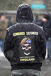"""© Joel Goodman - 07973 332324 . 04/02/2012 . Rochdale , UK . Protesters wearing """" Combined Exforces """" hoodies . The North West Infidels , a Nationalist group splintered from the EDL , protest outside Rochdale Town Hall . Protesters shout nationalist, Islamophobic and anti-Zionist slogans . Photo credit : Joel Goodman"""