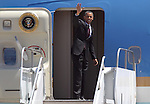 President Barack Obama departs from the Reno-Tahoe International Airport, in Reno, Nev. on Friday, May 11, 2012. (AP Photo/Cathleen Allison)