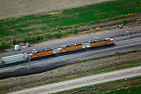 aerial photograph Union Pacific locomotives Nebraska