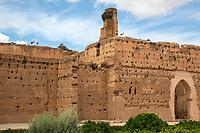 Marrakesh, Morocco.  El Badi Palace, 16th. Century.  Storks Nest Atop the Wall.