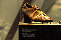 2019, Lausanne, Switzerland;  Original running shoe of the multiple Olympic champion Jesse Owens USA from 1936 in the IOC Museum in Lausanne