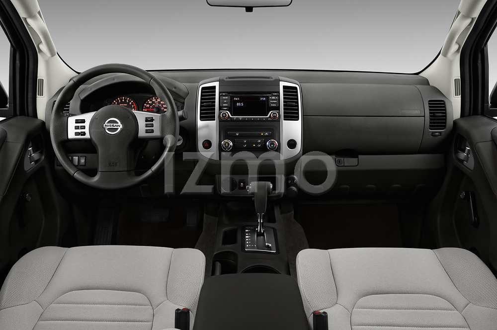 Stock photo of straight dashboard view of 2018 Nissan Frontier S-King-Cab 4 Door Pickup Dashboard
