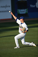Robbie Peto (49) of the Rancho Cucamonga Quakes warms up before pitching against the Modesto Nuts at LoanMart Field on May 12, 2021 in Rancho Cucamonga, California. (Larry Goren/Four Seam Images)