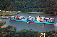 aerial photograph of two tug boats positioning a loaded Maersk containership for entry into the Miraflores Locks, Panama Canal, Panama | fotografía aérea de las esclusas de Miraflores, Canal de Panamá