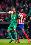 Manuel Fernandes (L) of FC Lokomotiv Moscow fights for the ball with Thomas Teye Partey of Atletico de Madrid during the UEFA Europa League 2017-18 Round of 16 (1st leg) match between Atletico de Madrid and FC Lokomotiv Moscow at Wanda Metropolitano  on March 08 2018 in Madrid, Spain. Photo by Diego Souto / Power Sport Images