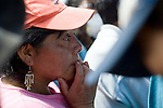 Delfina Romero, 46, of San Jose El Recreo, San Marcos, shows her emotion as she learns that her family would be provided emergency shelter by ShelterBox, an international disaster relief charity. .