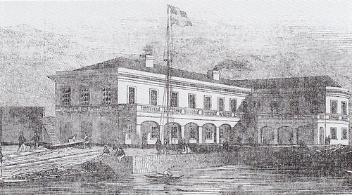 The Royal St George Yacht Club in 1846 - its last year as the Royal Kingstown YC - is pictured in the Illustrated London News as flying a somewhat ambiguous ensign