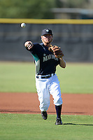 Seattle Mariners second baseman Nelson Ward (8) during practice before an Instructional League game against the Milwaukee Brewers on October 4, 2014 at Peoria Stadium Training Complex in Peoria, Arizona.  (Mike Janes/Four Seam Images)
