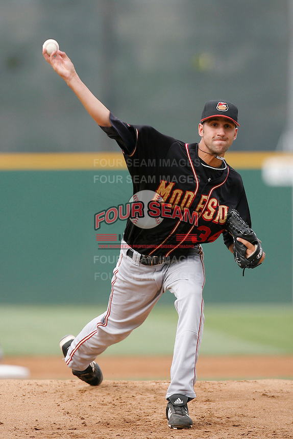 July 22 2007: Chaz Roe of the Modesto Nuts pitches against the Rancho Cucamonga Quakes at The Epicenter in Rancho Cucamonga,CA.  Photo by Larry Goren/Four Seam Images