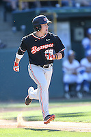 Kyle Nobach (24) of the Oregon State Beavers runs to first base during a game against the UCLA Bruins at Jackie Robinson Stadium on April 4, 2015 in Los Angeles, California. UCLA defeated Oregon State, 10-5. (Larry Goren/Four Seam Images)