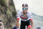 Fabio Aru (ITA) UAE Team Emirates summits the Col de Peyresourde during Stage 8 of Tour de France 2020, running 141km from Cazeres-sur-Garonne to Loudenvielle, France. 5th September 2020. <br /> Picture: Colin Flockton | Cyclefile<br /> All photos usage must carry mandatory copyright credit (© Cyclefile | Colin Flockton)