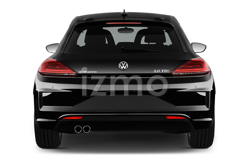 Straight rear view of a 2017 Volkswagen Scirocco R Line 5 Door Hatchback stock images
