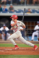 Palm Beach Cardinals second baseman Luke Dykstra (32) at bat during a game against the Charlotte Stone Crabs on April 11, 2017 at Charlotte Sports Park in Port Charlotte, Florida.  Palm Beach defeated Charlotte 12-6.  (Mike Janes/Four Seam Images)