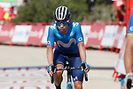 Miguel Angel Lopez Morena (COL) Movistar Team crosses the finish line at the end of Stage 6 of La Vuelta d'Espana 2021, running 158.3km from Requena to Alto de la Montaña Cullera, Spain. 19th August 2021.    <br /> Picture: Luis Angel Gomez/Photogomezsport   Cyclefile<br /> <br /> All photos usage must carry mandatory copyright credit (© Cyclefile   Luis Angel Gomez/Photogomezsport)