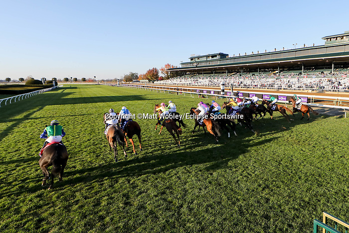 November 6, 2020: Horses break out of the starting gates the Juvenile Fillies Turf on Breeders' Cup Championship Friday at Keeneland on November 6, 2020: in Lexington, Kentucky. Matt Wooley/Eclipse Sportswire/Breeders Cup/CSM