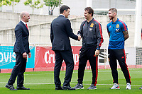 The President of the Government of Spain Pedro Sanchez (c-l), the coach Julen Lopetegui (c-r), player Sergio Ramos and the RFEF's President Luis Rubiales during the visit to the national soccer team training session. June 5,2018.(ALTERPHOTOS/Acero) /NortePhoto.com NORTEPHOTOMEXICO