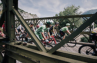Michael Matthews (AUS/Sunweb) riding over a narrow old bridge in the neutralised section of the race<br /> <br /> 104th Tour de France 2017<br /> Stage 19 - Embrun › Salon-de-Provence (220km)
