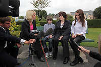 Pictured: Sonia Oatley (3rd L) mother of tragic teen Rebecca Aylward with her young son Jack (2nd L) and daughter Jessica (R) interviewed outside Swansea Crown Court. Friday 02 September 2011<br />