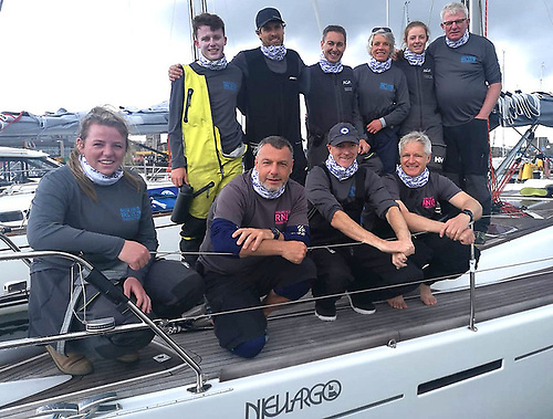 The Nieulargo crew before the start of the Dun Laoghaire to Dingle Race were (front row, left to right) Molly Murphy, James Fagan, Clive O'Shea and Ian Heffernan, and back row (left to right) Harry Durcan, Nin O'Leary, Brian Matthews, Annamarie Fegan Murphy, Mia Murphy and Denis Murphy.