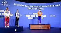 50m Freestyle Women<br /> Podium<br /> Gold Medal<br /> KROMOWIDJOJORanomi NED<br /> Silver Medal<br /> BLUMEPernille DEN<br /> Silver Medal<br /> WASICKKatarzyna POL<br /> Swimming<br /> Budapest  - Hungary  18/5/2021<br /> Duna Arena<br /> XXXV LEN European Aquatic Championships<br /> Photo Giorgio Scala / Deepbluemedia / Insidefoto