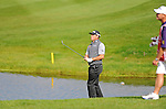 ISPS Handa Wales Open Golf final day at the Celtic Manor Resort in Newport, UK. : Lee Westwood of England chips onto the 18th.