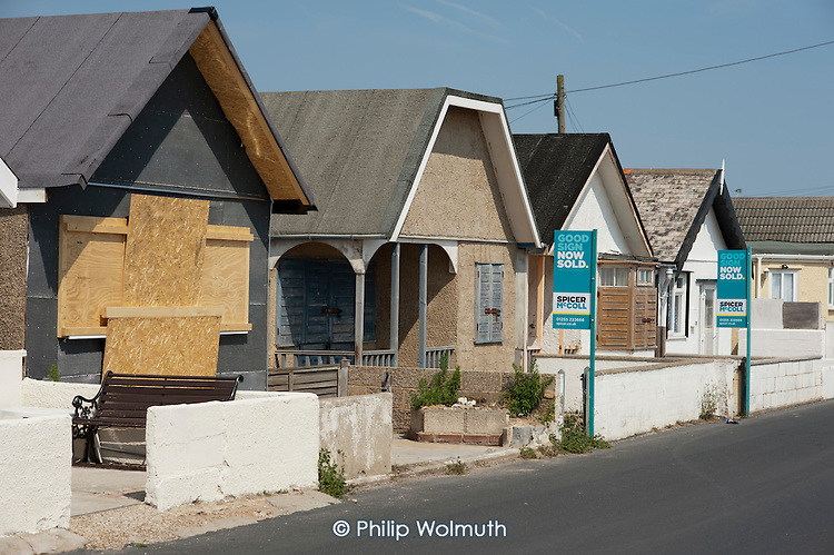 The Brooklands Estate in Jaywick Sands, close to the Essex resort of Clacton-on-Sea. The estate's small wooden houses - many little bigger than beach huts - were originally built as holiday homes. Brooklands is the most deprived ward in the UK, according to the latest Indices of Multiple Deprivation.