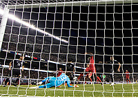 CHICAGO, IL - JULY 7: Gyasi Zardes #9 attempts to make a play in front of the goal during a game between Mexico and USMNT at Soldiers Field on July 7, 2019 in Chicago, Illinois.