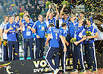 Halle/Westfalen, Germany, March 01: Players of VfB Friedrichshafen pose with the trophy following the victory in the Herren Volleyball DVV-Pokalfinale against SVG Lueneburg on March 1, 2015 at the Gerry Weber Stadion in Halle/Westfalen, Germany. Final score 0-3 (13-25, 13-25, 18-25). (Photo by Dirk Markgraf / www.265-images.com) *** Local caption ***