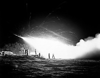 Night view of the First Rocket Battery, 11th Marine Regiment, firing a night mission, somewhere in the Marines front line sector.  April 15, 1953.  M. Sgt. Eugene C. Knauft.  (Marine Corps)<br /> NARA FILE #:  127-N-A171006<br /> WAR & CONFLICT BOOK #:  1439