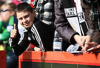 A Swansea fan before the Barclays Premier League match between AFC Bournemouth and Swansea City played at The Vitality Stadium, Bournemouth on March 11th 2016