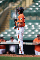 Baltimore Orioles designated hitter Alexis Torres (36) at bat during a Florida Instructional League game against the Pittsburgh Pirates on September 22, 2018 at Ed Smith Stadium in Sarasota, Florida.  (Mike Janes/Four Seam Images)