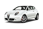 Stock pictures of low aggressive front three quarter view of 2015 Alfaromeo Mito 600H-L-President-Line 4 Door Sedan Low Aggressive