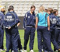 15 Mei 2010 Bekerfinale vrouwen : Sinaai Girls - RSC Anderlecht  : voor de wedstrijd met Katrijn Windey.foto DAVID CATRY / Vrouwenteam.be