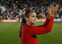 Commerce City, Colorado - Wednesday September 19, 2012; The  US WNT defeated the National team of Australia 2-1 during an International friendly game at Dick's Sporting Goods Park.  Alex Morgan thanks the crowd after the USWNT victory.