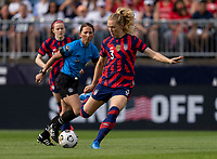 EAST HARTFORD, CT - JULY 5: Samantha Mewis #3 of the USWNT crosses the ball during a game between Mexico and USWNT at Rentschler Field on July 5, 2021 in East Hartford, Connecticut.