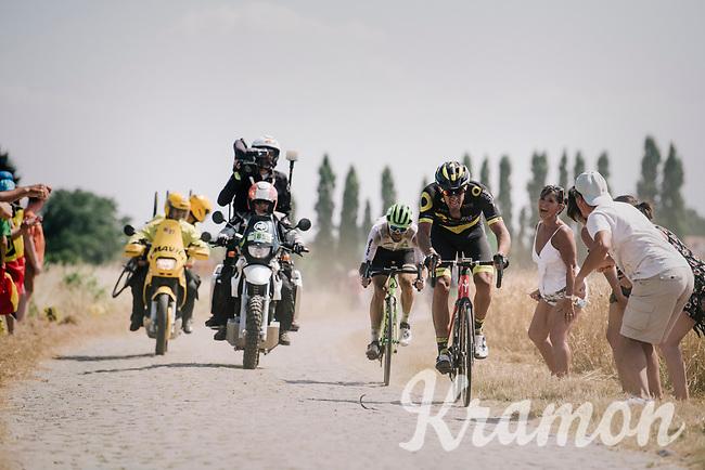 Damien Gaudin (FRA/Direct Energie) & Reinardt Janse van Rensburg (ZAF/Dimension Data) on pavé sector #3<br /> <br /> Stage 9: Arras Citadelle > Roubaix (154km)<br /> <br /> 105th Tour de France 2018<br /> ©kramon