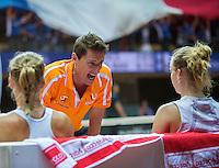 Arena Loire,  Trélazé,  France, 16 April, 2016, Semifinal FedCup, France-Netherlands, Doubles:  Hogenkamp Bertens (NED) are coaches by captain Paul Haarhuis<br /> Photo: Henk Koster/Tennisimages