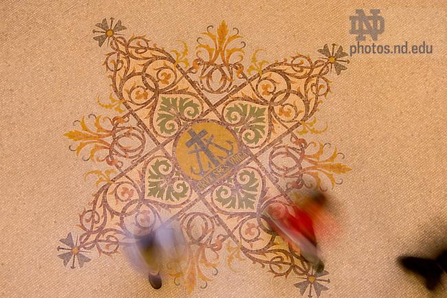 C.S.C. cross mosaic in the floor of the Main Building rotunda...Photo by Matt Cashore...To contact Matt Cashore:.574.220.7288.574.233.6124.cashore1@michiana.org.www.mattcashore.com