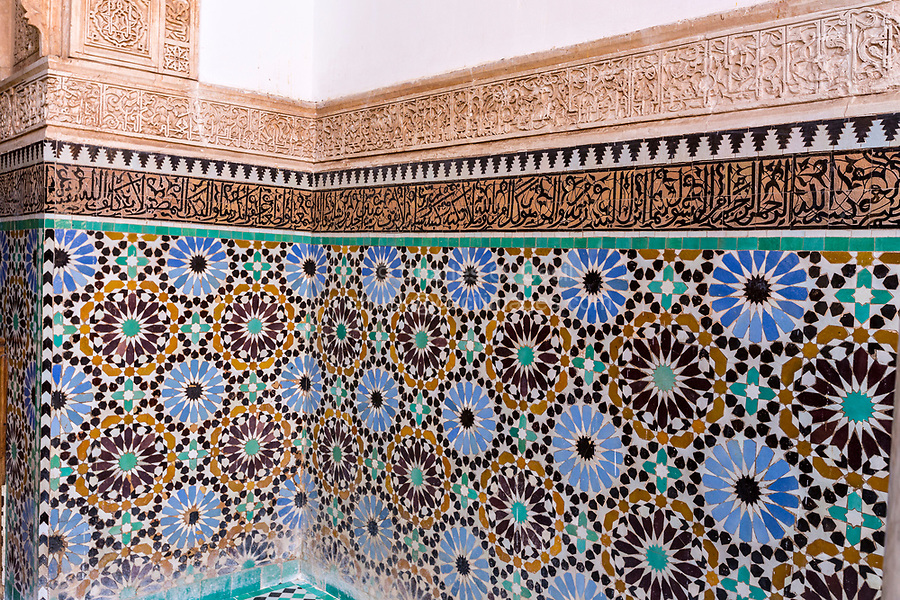 Marrakesh, Morocco.  Geometric Designs in Mosaic Tile Work (Zellij), Saadian Tombs, 16th. Century.