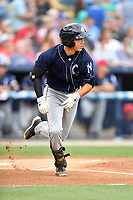 Charleston RiverDogs shortstop Hoy Jun Park (1) runs to first base during a game against the Asheville Tourists at McCormick Field on July 4, 2017 in Asheville, North Carolina. The Tourists defeated the RiverDogs 2-1. (Tony Farlow/Four Seam Images)