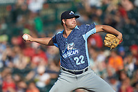 West Michigan Whitecaps starting pitcher Brad Bass (22) in action against the Fort Wayne TinCaps at Parkview Field on August 5, 2019 in Fort Wayne, Indiana. The TinCaps defeated the Whitecaps 9-3. (Brian Westerholt/Four Seam Images)