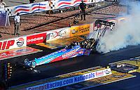 Apr. 1, 2011; Las Vegas, NV, USA: NHRA top fuel dragster driver Mike Strasburg during qualifying for the Summitracing.com Nationals at The Strip in Las Vegas. Mandatory Credit: Mark J. Rebilas-
