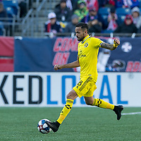 Foxborough, Massachusetts - March 9, 2019:  In a Major League Soccer (MLS) match, Columbus  Crew (yellow) defeated New England Revolution (blue/white), 2-0, at Gillette Stadium.