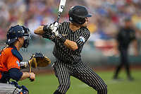 Vanderbilt Commodores second baseman Tyler Campbell (2) at bat during the NCAA College baseball World Series against the Cal State Fullerton Titans on June 14, 2015 at TD Ameritrade Park in Omaha, Nebraska. The Titans were leading 3-0 in the bottom of the sixth inning when the game was suspended by rain. (Andrew Woolley/Four Seam Images)