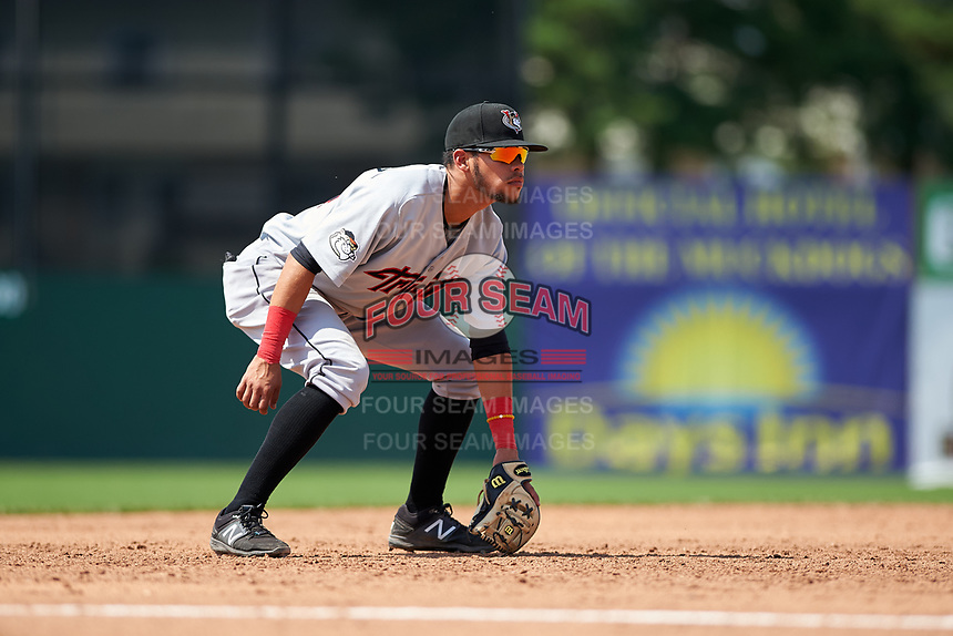Tri-City ValleyCats third baseman Kristian Trompiz (24) during a game against the Batavia Muckdogs on July 16, 2017 at Dwyer Stadium in Batavia, New York.  Tri-City defeated Batavia 13-8.  (Mike Janes/Four Seam Images)
