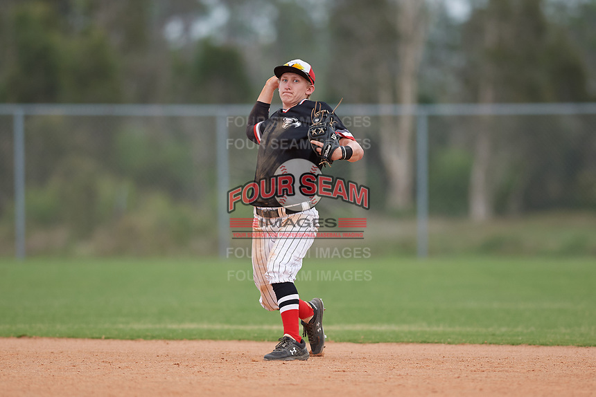 Edgewood Eagles second baseman Bryan Niznik (2) during a game against the South Vermont Mountaineers on March 18, 2019 at Lee County Player Development Complex in Fort Myers, Florida.  South Vermont defeated Edgewood 19-6.  (Mike Janes/Four Seam Images)