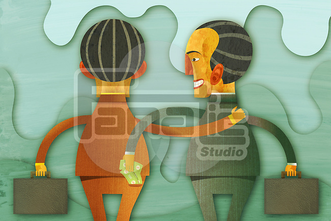 Illustrative image of businessman removing money from friend's pocket representing fraud